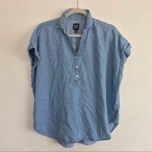 GAP Chambray Short Sleeve Cocoon Popover Shirt S